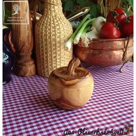 olive wood pot in apple shape