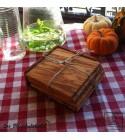 squared coaster olive wood