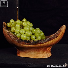 Olive wood bowl, oval form, natural edge