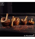 mortar and pestle olive wood rustic style