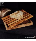 olive wood bread cutting board with crumb catcher