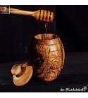 olive wood Honey pot inclusive honey dipper