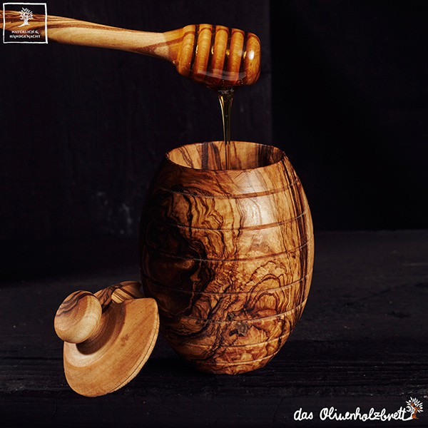 Honey Pot With Beautiful Olive Wood Grain Incl Honey Spoon