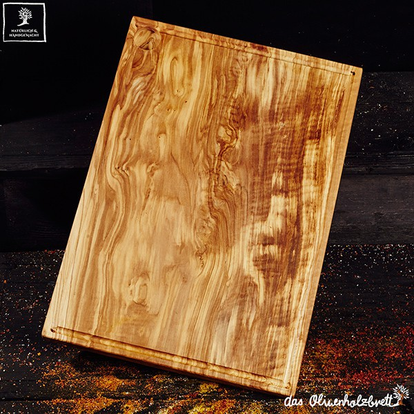 Big Olive wood chopping board, rectangular, with juice groove