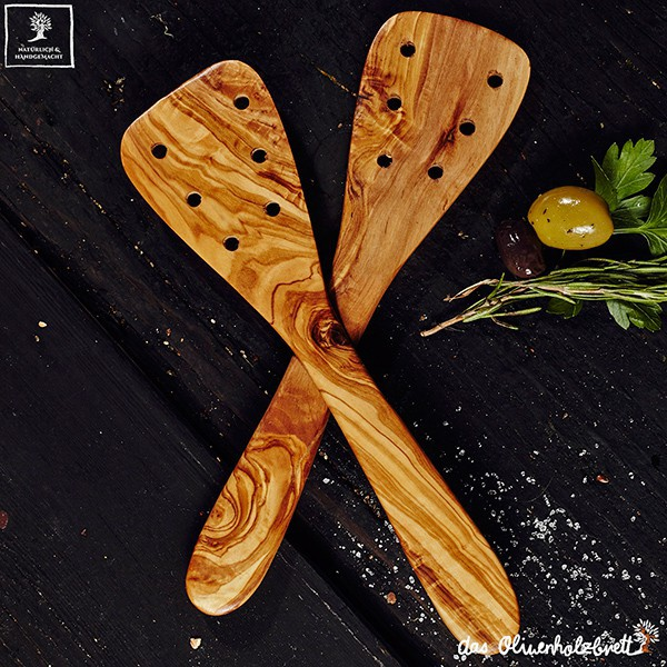 Spatula With Holes Olive Wood