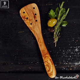 Spatula with holes , olive wood