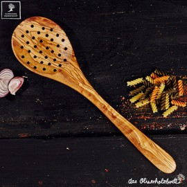 cooking spoon, strainer , olive wood