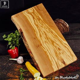 Chopping board olive wood, rectangular one side natural